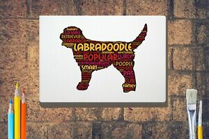 Labradoodle-Dog-Word-Art-Canvas-A4-A3-A2A1-Mothers-Day-Gift-Personalised-Option