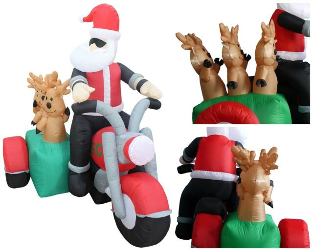 6 Foot Long Inflatable Santa Claus and 3 Reindeers in a Motorcycle