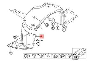 51718224986 Parts N Go 1999-2006 3 Series Coupe//Convertible Passenger Side Fender Liner Splash Guard BM1251108