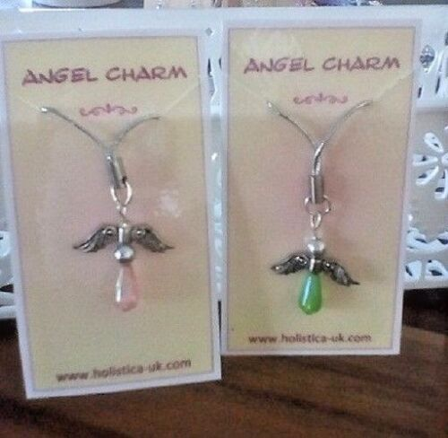10 x Little Angel Charms with Hanging Loop Mixed Colours Handbag Car Phone ..