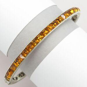Vtg-Art-Deco-Sterling-Silver-Channel-Set-Orange-Paste-Glass-Bangle-Bracelet