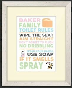 Incredible Details About Personalised Toilet Rules Framed Canvas Print Bathroom Wall Plaque Hanging Decor Home Interior And Landscaping Ponolsignezvosmurscom