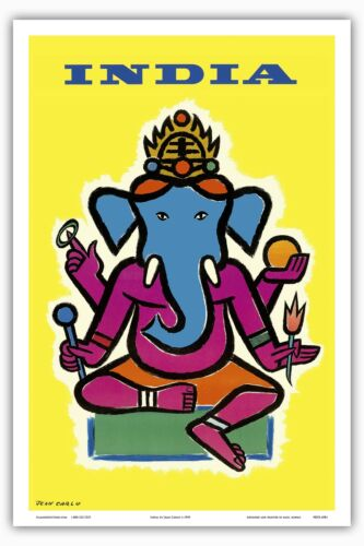 India Hindu Lord Ganesha Vintage Airline Travel Art Poster Print