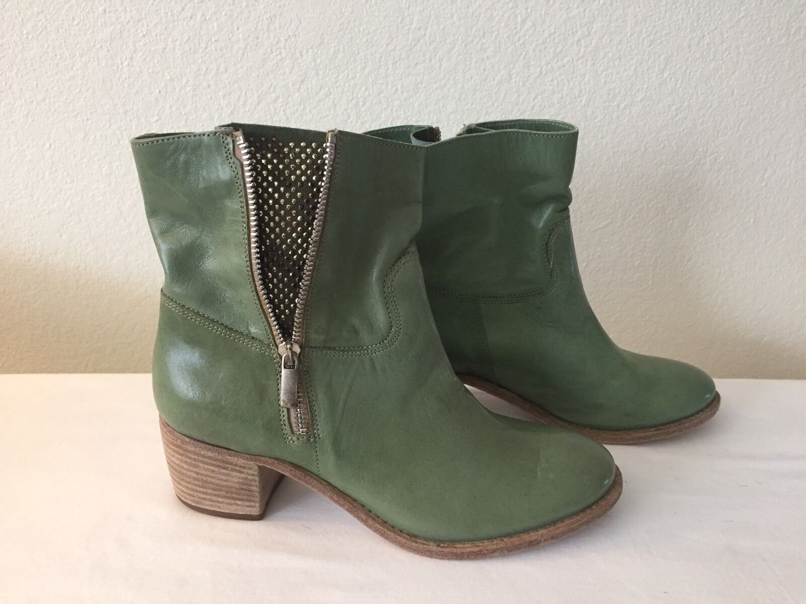 NEW PROGETTO Green Leather Boots SZ 39/8.5M $235