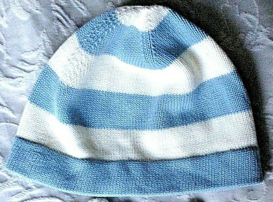 * Nuevo * Julios Para Damas/adolescente de tejer sombrero pálido Rayas Azul Y Blanca