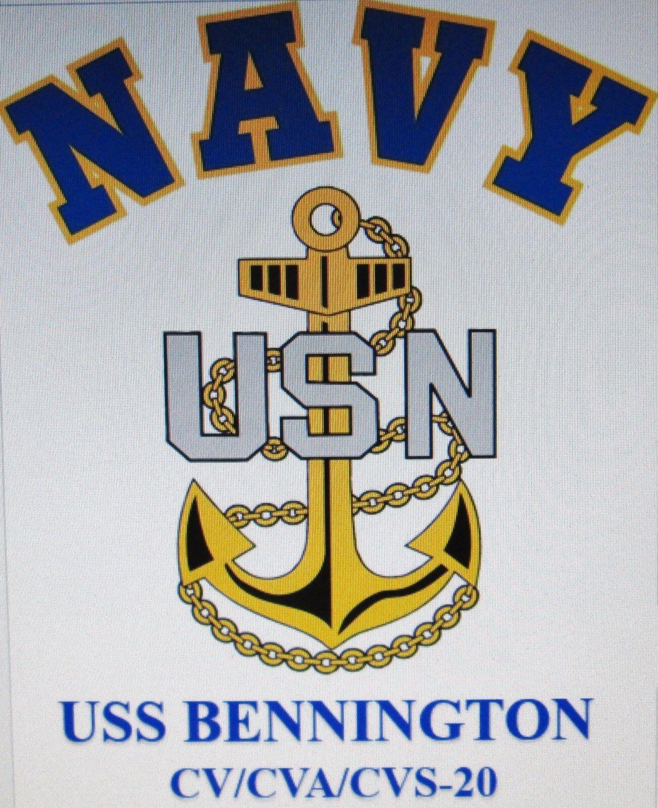 USS BENNINGTON  CV-20  NAVY ANCHOR  EMBROIDERED LIGHT WEIGHT POLO SHIRT