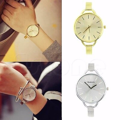 Fashion Classic Women's Lady Quartz Stainless Steel Analog Wrist Watch Bracelet