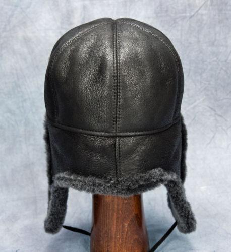 Black NEW Aviator Hat - 100/% Sheepskin by Northern Hats SKU: 179K-BLK