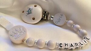 PERSONALISED-Your-Name-Choice-PRINCE-amp-CROWN-Dummy-Clip-WHITE