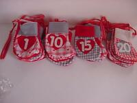 Christmas Advent Calendar W/24 Individual Cloth Stockings Strung Together
