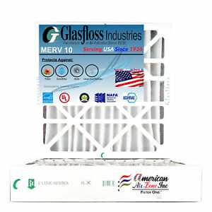 MERV 10 - - Pleated  Air Furnace Filter Made in USA Qty:12 Glasfloss 20x36x1
