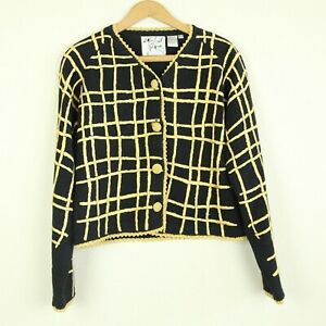Vintage-90s-Michael-Simon-Black-Embroidered-Sweater-Gold-Grid-Plaid-M