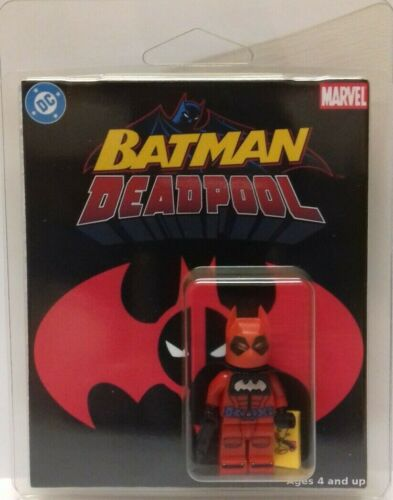 Custom Lego Deadpool Batman mini-figure with clamshell display box