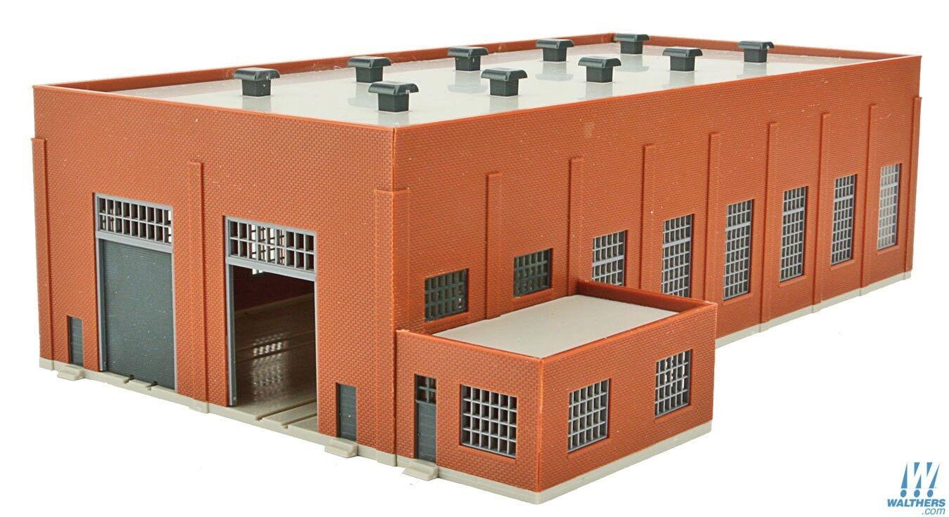N Walthers Piedra Angular Kit 933-3266  2-Stall 130' casa de ladrillo Diesel