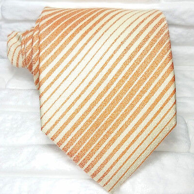 100% Wahr Krawatte Gestreift Orange Seide Made In Italy Hochzeit / Business Morgana Marke