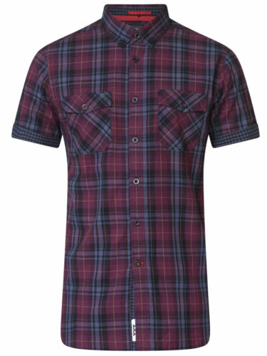 HERBIE D555 Kingsize Mens Short Sleeve Check Shirts With Twin Pocket