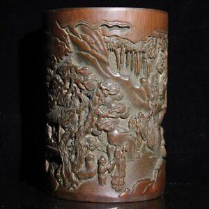 Exquisite carved pine pavilion landscape statue natural bamboo Pen Brush pot