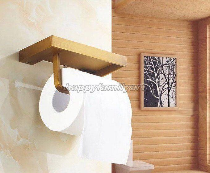 Bathroom Antique Brass Wall Mounted Toilet Paper Roll Holder & Shelf yba170