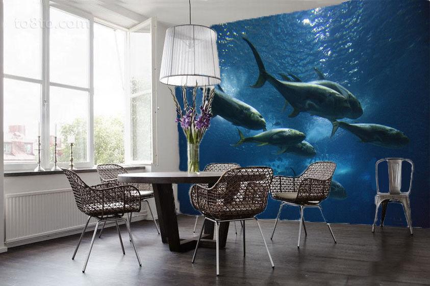 3DTiefsee Hai 732 Tapete Wandgemälde Tapete Tapeten Bild Familie DE Summer