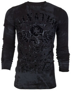 Archaic by affliction mens thermal t shirt black tide for Mens black thermal t shirts