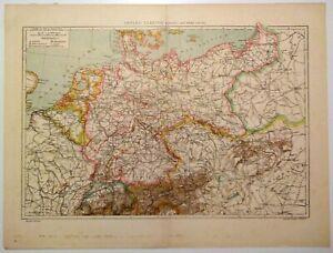 Immagini Cartina Geografica Germania.Carta Geografica Antica Germania Paesi Adiacenti Vallardi 1900 Old Map Germany Ebay