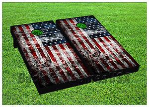 American Flag Usa Cornhole Beanbag Toss Game W Bags Game Boards Vintage