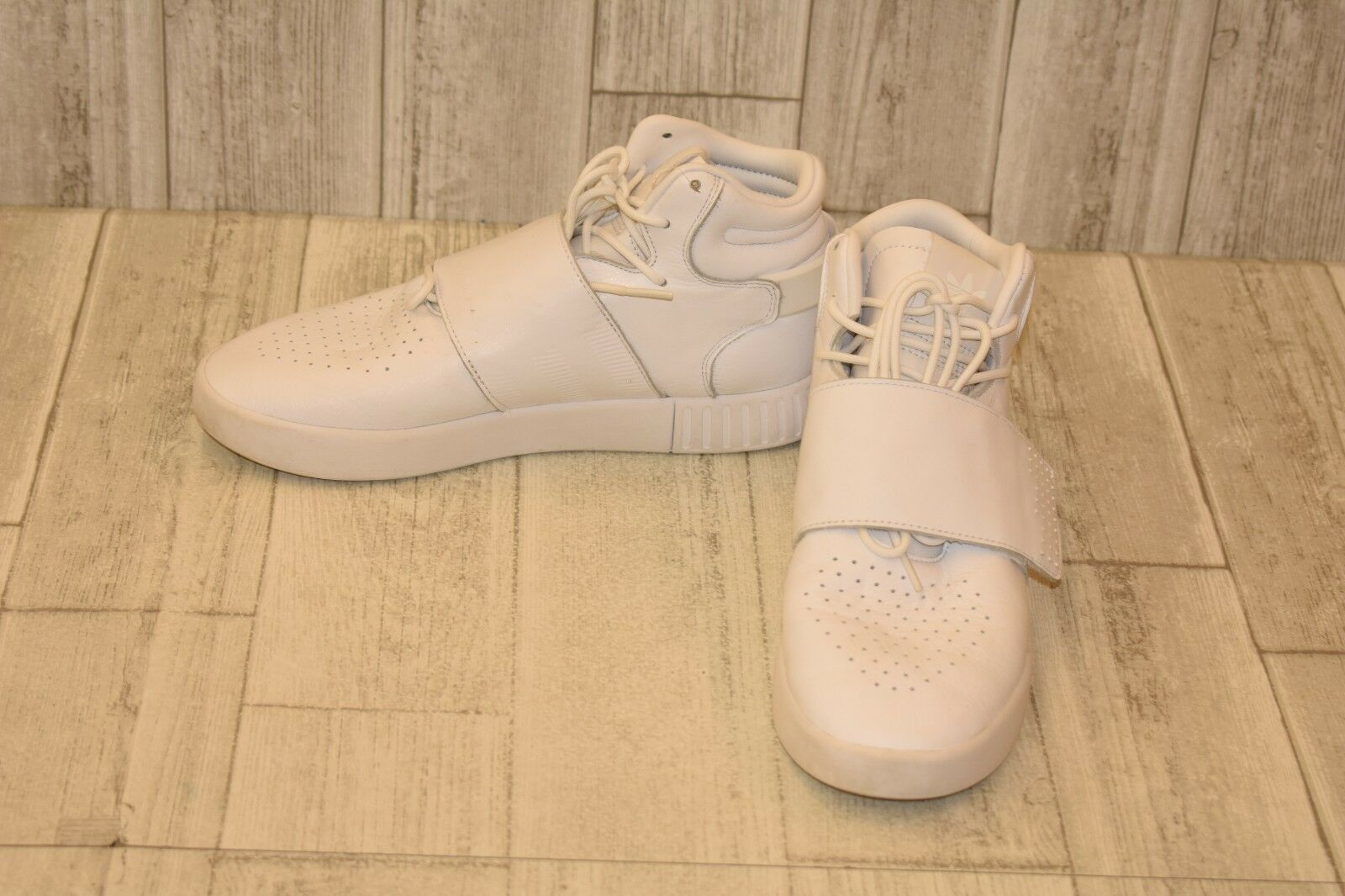 Adidas Originals Tubular Invader Strap High Top Sneaker, Men's Size 8.5, White