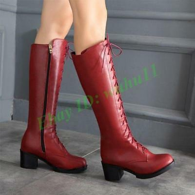 chic women lace up chunky heel knee high boots riding