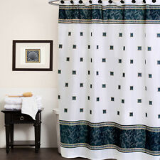 Black White Greek Key Seashell Pattern Polyester Fabric Shower Curtain 70