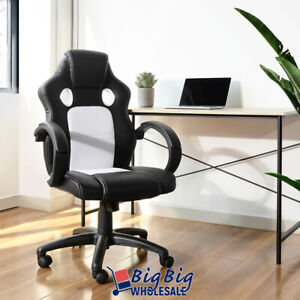 Gaming Racing Leather Office Chair Swivel Ergonomic Computer Desk Seat Blk White