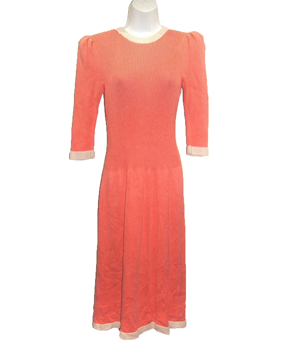 Wellmore Living Coral Santana Knit Dress sz 6 Beige Accents 3 4 Sleeves