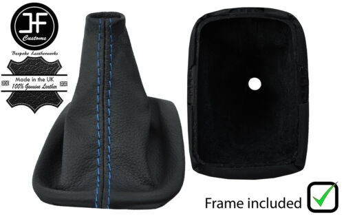 BLUE STITCHING LEATHER SHIFT BOOT WITH PLASTIC FRAME FOR VOLVO C30 2006-2013