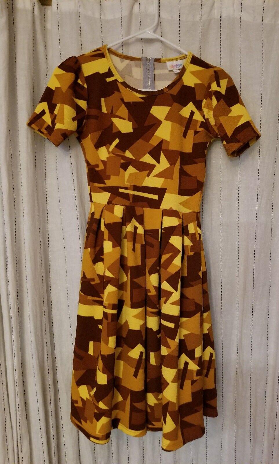 LULAROE Amelia Dress Textured Geometric Yellow gold Tan Brown WOMENS SZ XXS