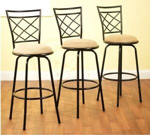 Bar-Stools-Swivel-Adjustable-Legs-Counter-Height-Black-Metal-Armless-Set-of-3