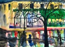 Large Double Abstract Watercolor Painting Street Store Trees Flowers PA Artist