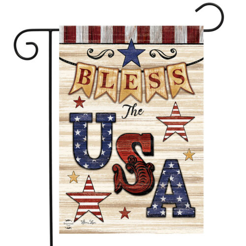 "Bless The USA Patriotic Garden Flag Primitive Stars Double-Sided 12.5/"" x 18/"""