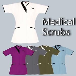 Medical-Tunic-Scrubs-PIPING-V-NECK-Nurses-Dental-Tunic-Hospital-Medical-Uniform