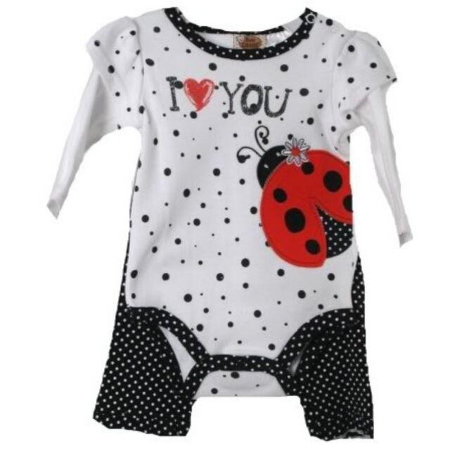Posh Baby Grand White Black Polka Dot Lady Bug Infant Creeper w/Ruffled Pants