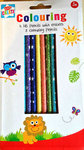 12-Glitter-Pencils-8-Colour-4-HB-With-Eraser-Superb-Quality-Pre-Sharpened-School