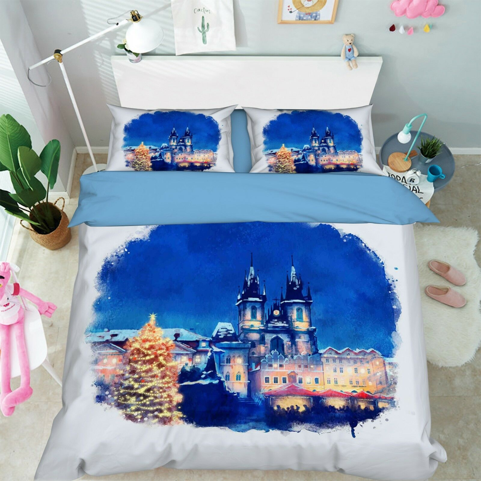 3D Winter Castle 76 Bett Pillowcases Quilt Duvet Startseite Set Single Königin AU Carly