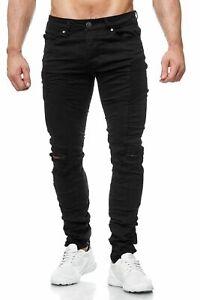 am billigsten wähle echt verkauft Details zu Herren Jeans Schwarz Biker Ripped Destroyed Zerrissen Used Hose