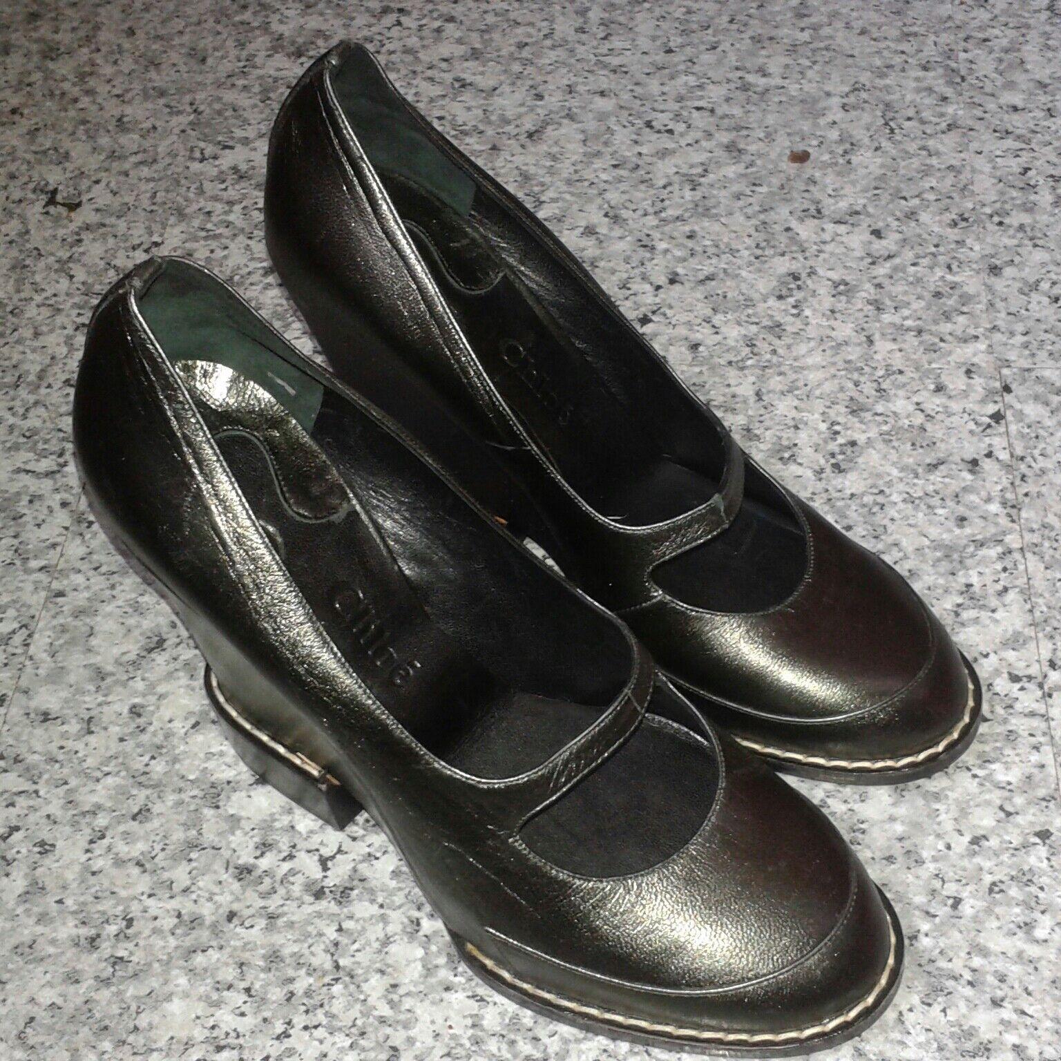 Zapatos De Cuero Cuero Cuero Chloe Mary Jane Cuña Tacón Alto verde Oscuro-UK 5 EU 37  tienda