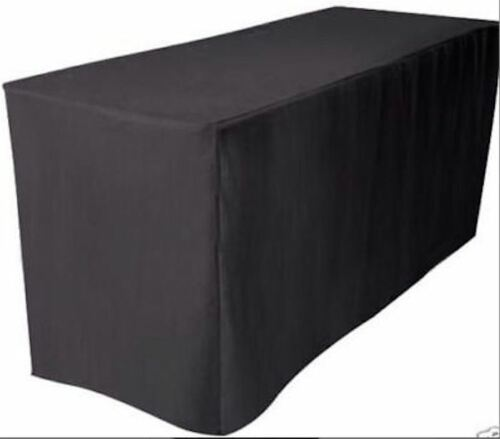 Fitted Polyester Table Cover Wedding Banquet Event Tablecloth BLACK 5/' ft