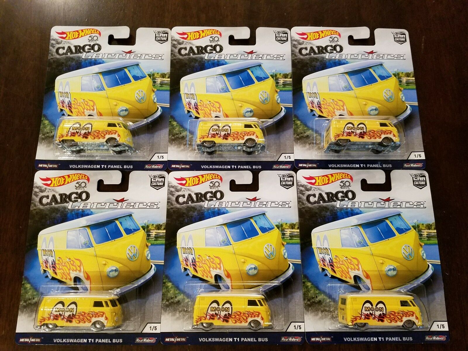 Hot Wheels 2018 Car Culture Cargo Carriers Volkswagen T1 Panel Bus (Lot of 6)
