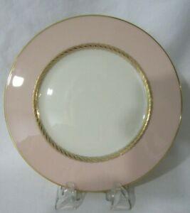 Caribbee by Lenox Fine China Salad LuncheonPlate Pink Rim Gold Rope EUC 1954-70