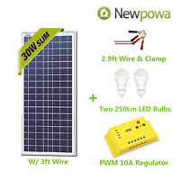 Newpowa 30W Watt Solar Panel With 3ft Wire + Controller 12V Charge + LEDs Kit
