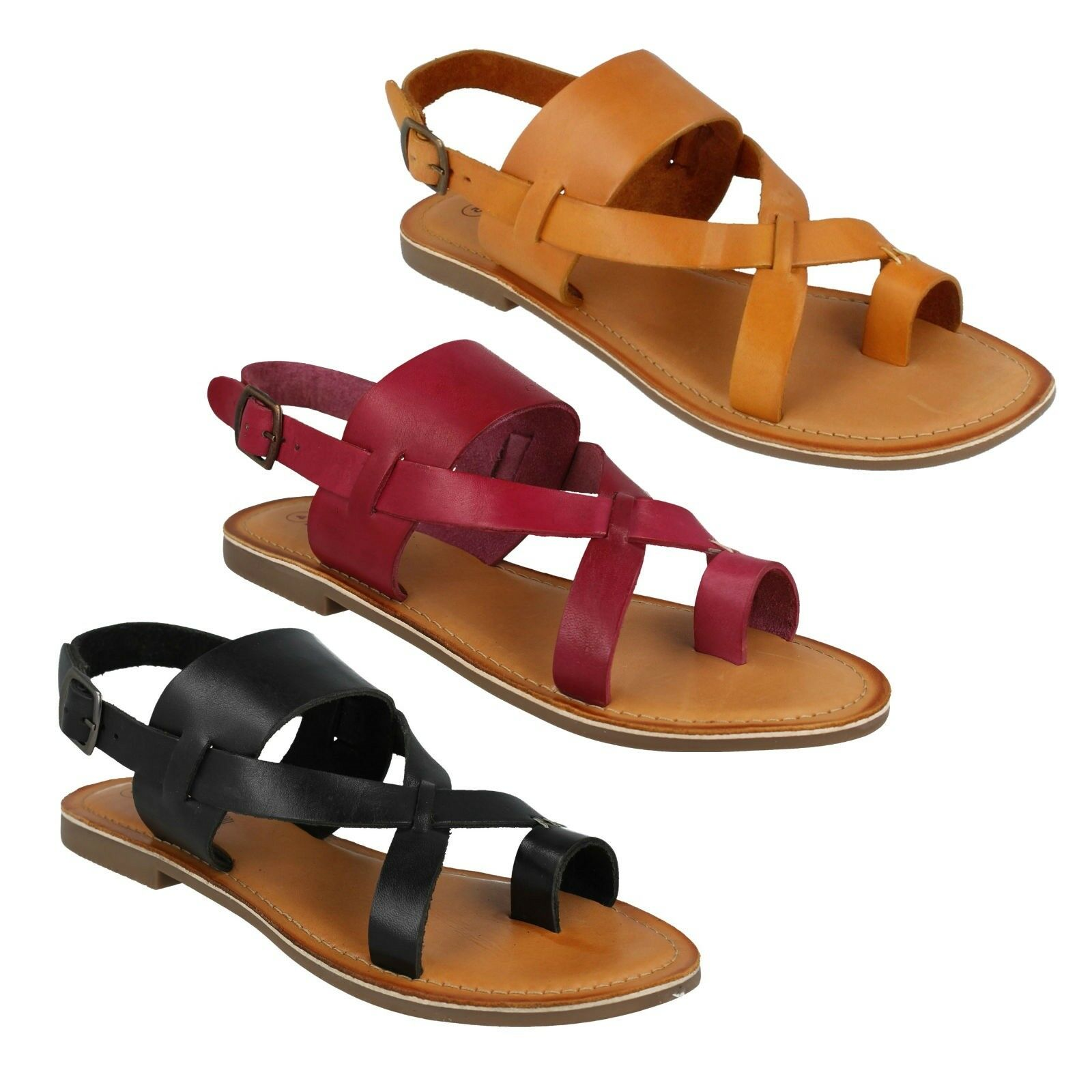 F0R0127 LEATHER COLLECTION LADIES THUMB LOOP STRAPPY BUCKLE FASTENING SANDALS