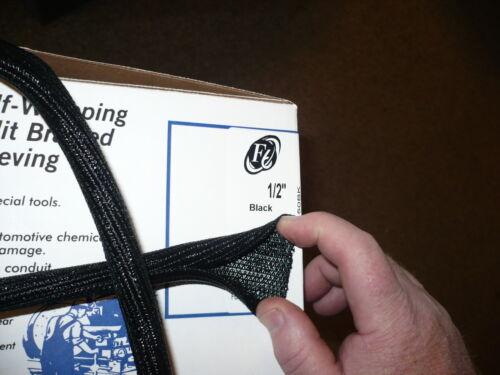 "3//8/"" and 1//2/"" 25 feet each size SPLIT BRAIDED SLEEVING F6 X black"