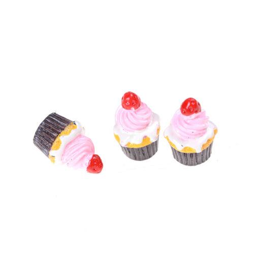 3Pcs Strawberry Cakes Miniature Food Models Dollhouse Accessories Pip B gq