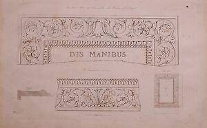 1825 Acquaforte Stampa Sepolcrale Altare Bianco Marmo Vaticano Museo Tatham
